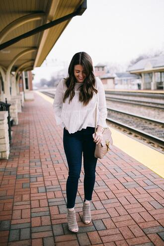 sequins and stripes blogger top shoes bag make-up gucci bag skinny jeans white blouse spring outfits