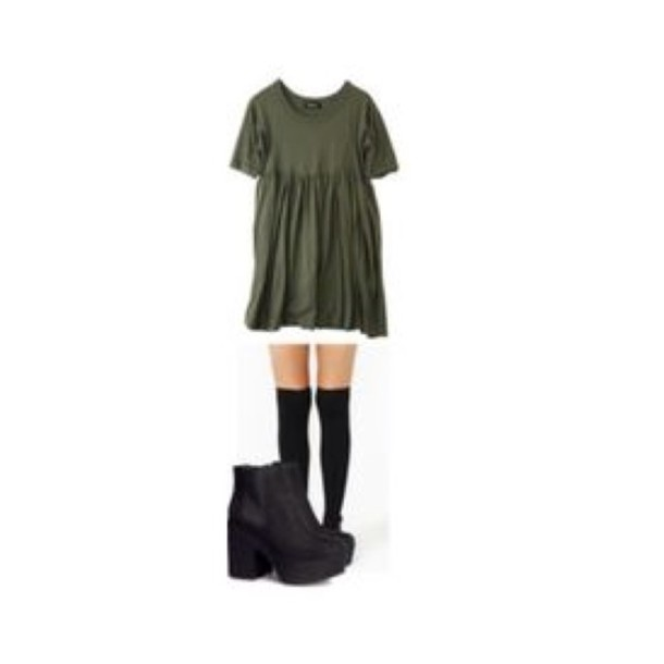 dress green dress loose dress