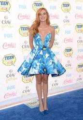 bella thorne,dress,shoes,blue dress,floral dress,purse,bag,jewels