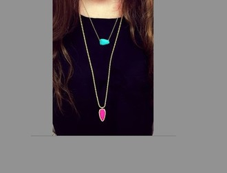 jewels pink turquoise pendant necklace stone necklace