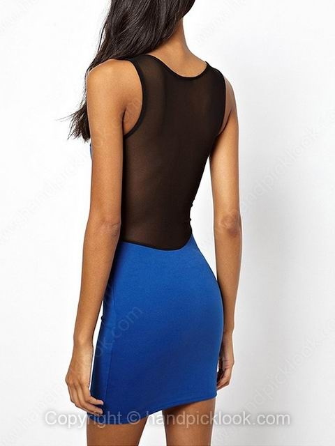 Blue Contrast Black Sleeveless Bodycon Sexy Dress - HandpickLook.com