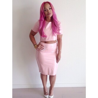 dress summer outfits trendy leather pink pink pink dress girly outfits tumblr instagram instafashion leather pencil skirt heather sanders springtime girly fashion two-piece pink hair pastel