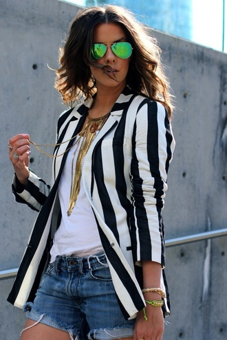 jacket blazer black and white