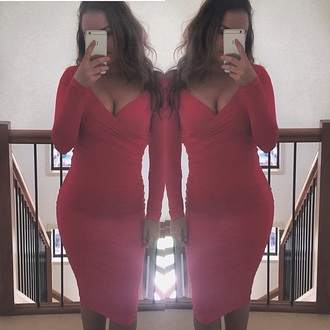 dress red formal gown bright winter outfits party body on