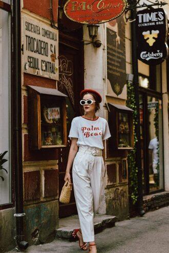 pants sunglasses tumblr white pants high waisted pants t-shirt white t-shirt beret white sunglasses bag