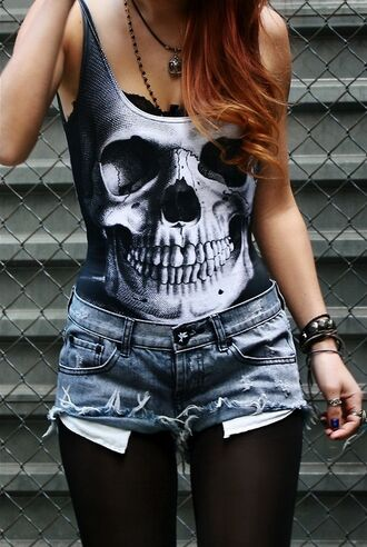 shirt clothes shorts tights leggings tank top skull rock rock chick rock outfit punk black alternative top skull bodysuit white top black top black bodysuit black and white skull top swimwear bodysuit shortshorts girl skirt goth skeleton summer dead bones skelton punk rock t-shirt blouse