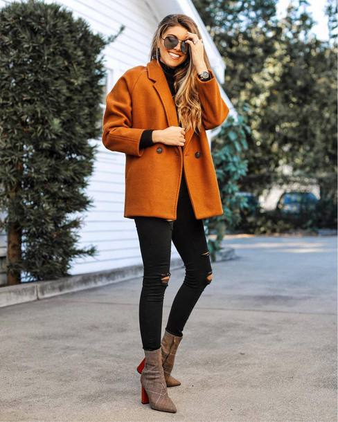 jacket wool jacket orange orange jacket denim jeans black jeans skinny jeans ripped jeans boots grey boots ankle boots sunglasses