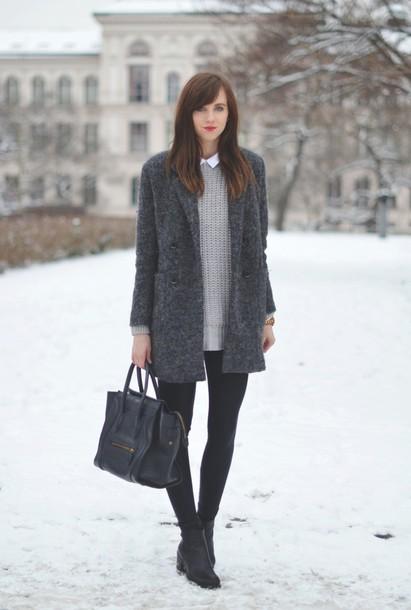 vogue haus blogger leggings casual grey sweater grey coat celine blouse sweater coat shoes bag jewels
