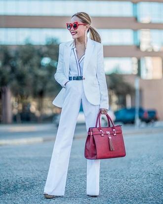 bag red bag white pants pants blazer white blazer shirt white shirt sunglasses m all white everything handbag wide-leg pants jacket