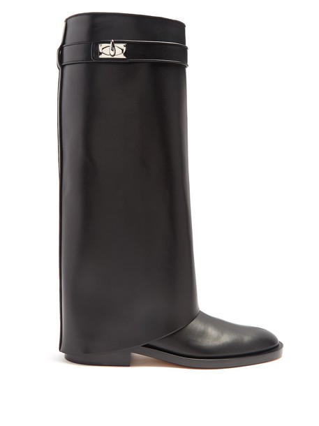 Givenchy knee-high boots high shark leather black shoes