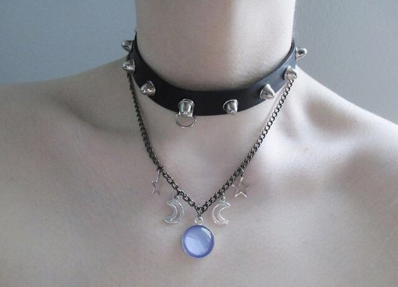 jewels necklace chocker leather necklace studs purple choker necklace black leather moon crescent moon silver