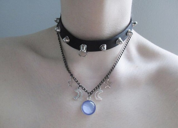 jewels studs purple choker necklace black leather moon crescent moon silver necklace choker necklace leather necklace