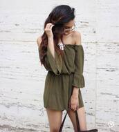 romper,tumblr,off the shoulder,green romper,off the shoulder romper,army green,summer outfits