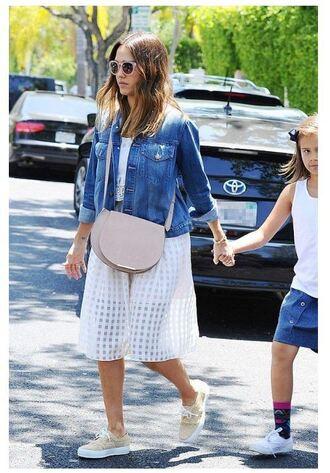 skirt midi skirt midi dress white white dress white top white skirt jacket sneakers jessica alba top shoes