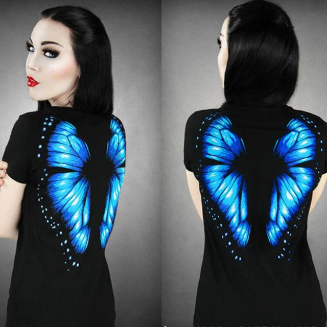 Aliexpress.com : Buy Summer Women T shirt Butterfly Girl 3D Stamp Print Back Short Sleeve T shirt Female Cute Sexy T Shirt Tee Tops from Reliable t-shirt bag making machine suppliers on Fashion Sunlight