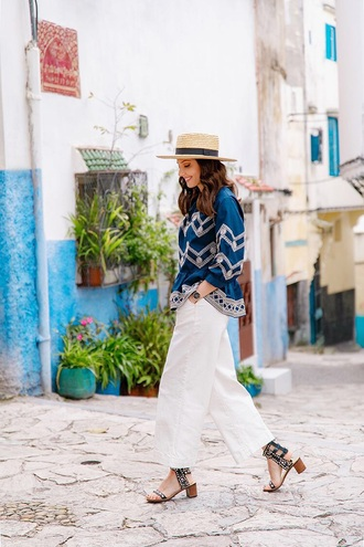 top blue top pants white pants hat embroidered sandals mid heel sandals