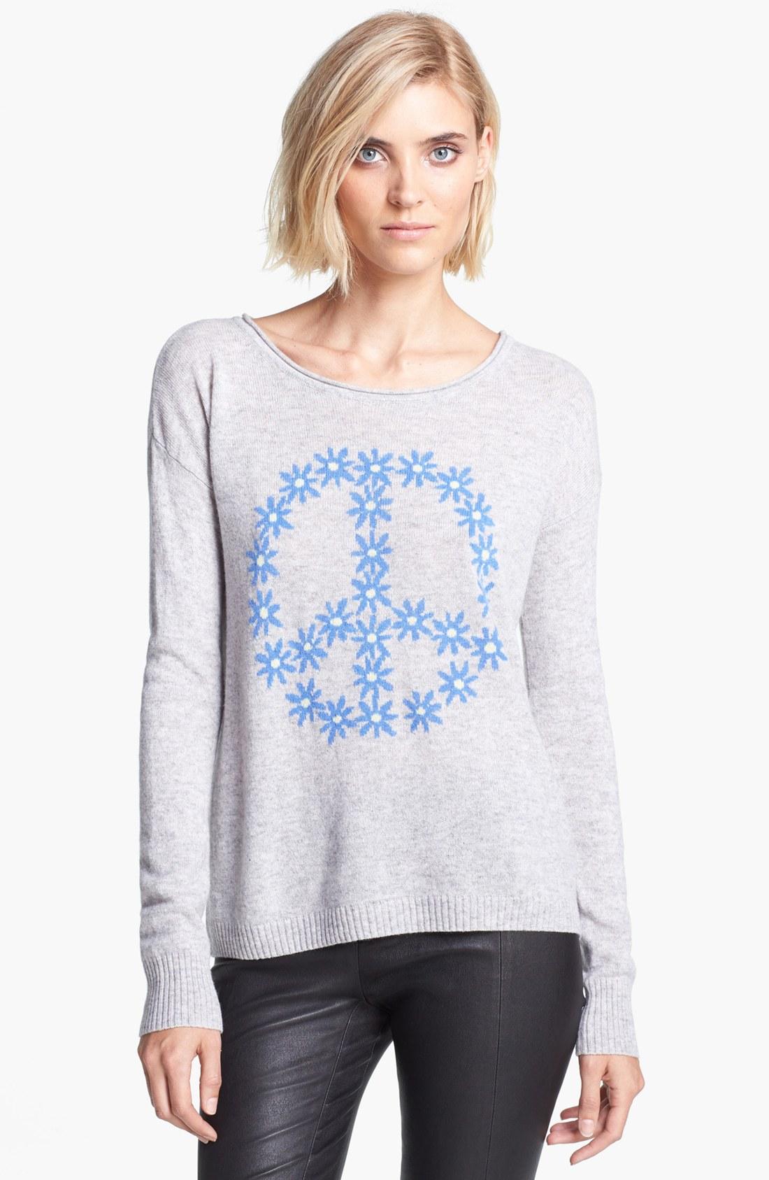 Autumn Cashmere Beige Peace Symbol Cashmere Sweater