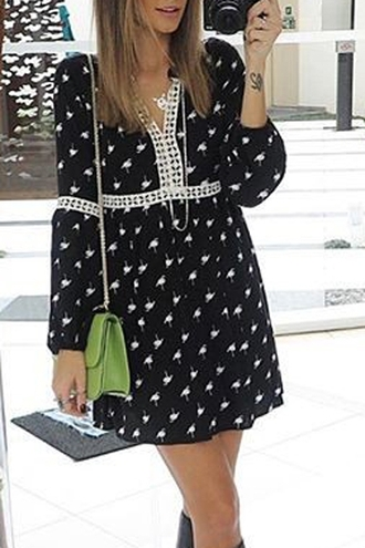dress girly black and white long sleeves fall outfits long sleeve printed black dress trendy style fashion