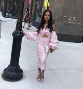 dress,midi dress,pink dress,karrueche,cut-out dress,stripes,instagram,off the shoulder