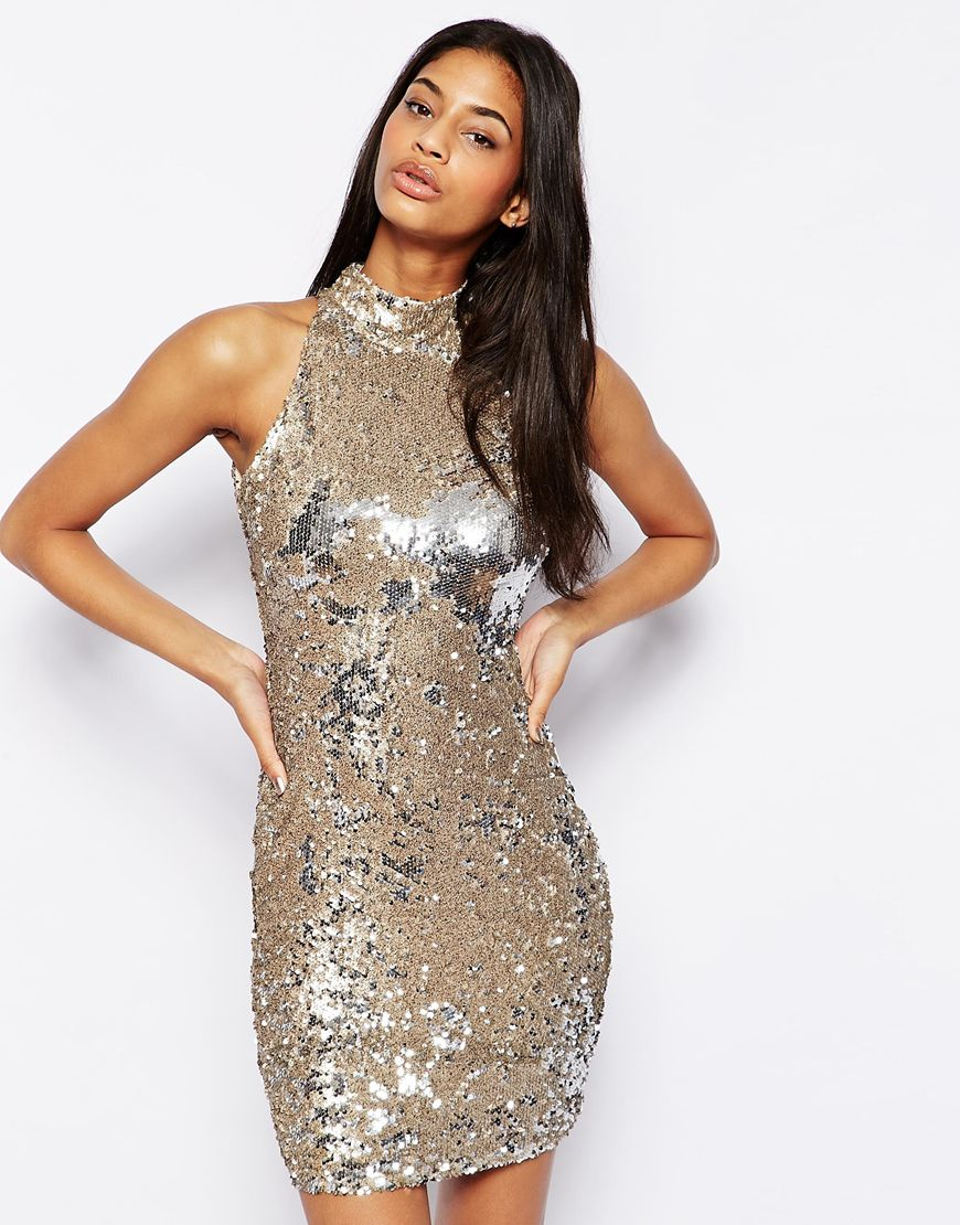 TFNC Sequin Dress With High Neck at asos.com