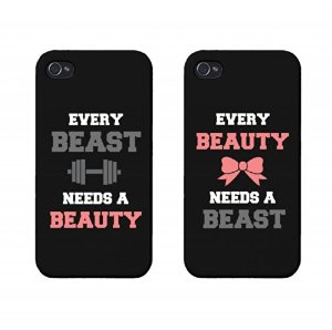 Amazon.com: Beauty and Beast Need Each Other Couples Matching Cell Phone Cases for iphone 4, iphone 5, iphone 5C, Galaxy S3, Galaxy S4, Galaxy S5 in Black: Cell Phones & Accessories