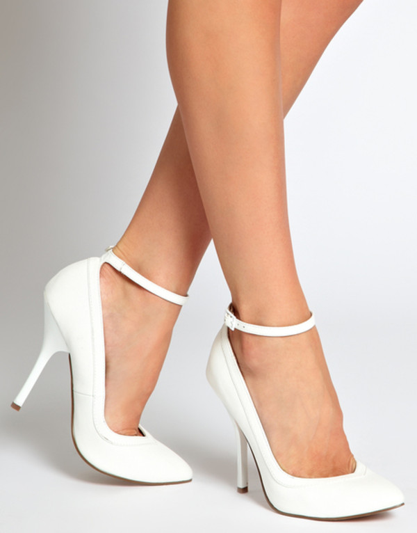 shoes white pointy heels straps