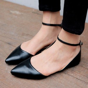Black Ankle Strap Comfortable Flats for Women