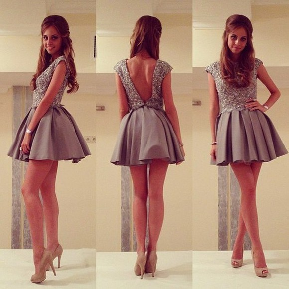 dress mini dress brown dress nice dress party dress shoes grey short sparkly jewels sparkling dress open back grey girl glitter high heels skater dress skater creme beige back back detail cute dress, silver