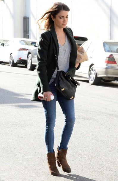 boots jeans jacket nikki reed shoes