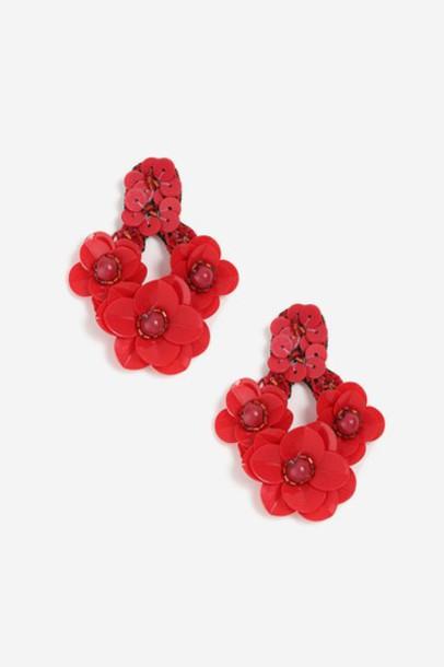 Topshop earrings red jewels
