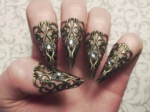 nail accessories gold nails nail polish nails diamonds finger rings jewels jewelry jewelry ring vintage