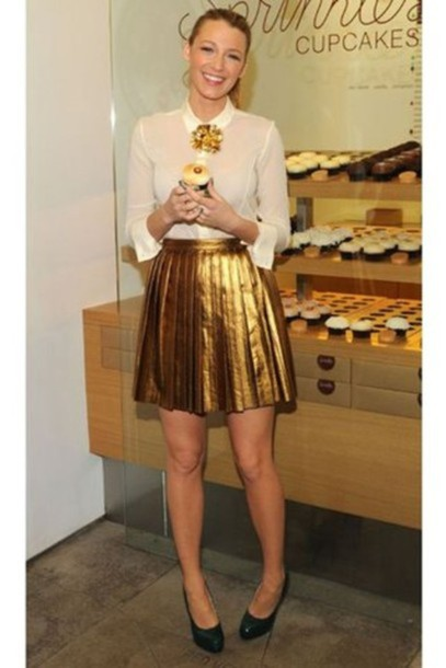 skirt blake lively gold pleated skirt