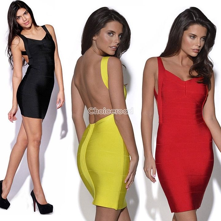 New Ladies Low Cut V Neck Open Backless Bodycon Stretch Bandage Mini Party Dress | eBay