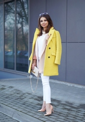 a piece of anna,blogger,yellow coat,classy,pink jacket
