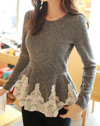 sweater lace grey girly cute top peplum long sleeves casual fall outfits style winter outfits