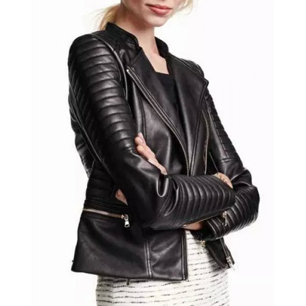 Punk Skew Zippered Seamed Faux Leather Black Jacket For Women