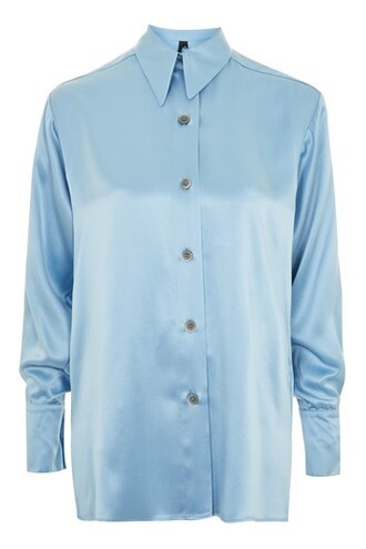 shirt blue silk top