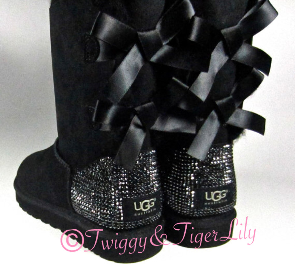 Rhinestone bailey bow uggs in jet hematite crystals