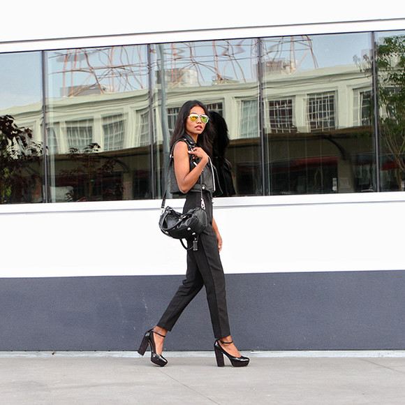 tuolomee blogger jumpsuit bag pumps leather jacket
