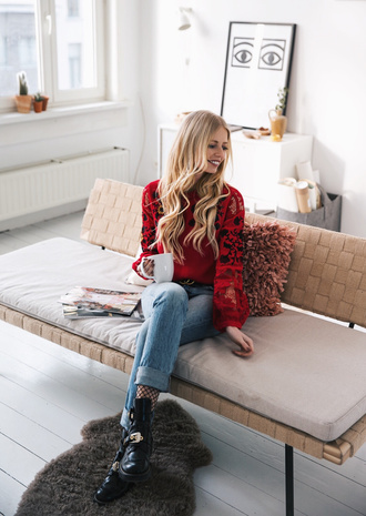 top tumblr red top lace top puffed sleeves blonde hair long hair denim jeans blue jeans cuffed jeans boots black boots flat boots tights net tights fishnet tights sofa home decor furniture home furniture