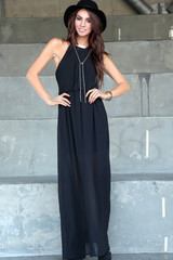 Highneck Pleated Maxi Dress-Black | Obsezz