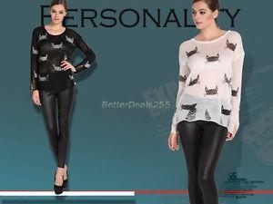 New style womens crewneck hole knit sweater hollow retro lovely cat print b20e