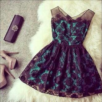 dress blue green black silk lace turquiosedress turquoise