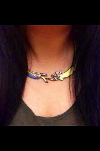 jewels black style pinky blue cute cool funny unicorn necklace rainicorn lady adventure kawaii super cute adventure time choker necklace lady addict rainbow pastel t-shirt kawaii grunge super cute fancy