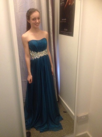 dress prom green blue teal dark crystals embelished wait strapless bandeau ruffled elegant sophisticated party evening homecoming graduation dark blue dark green prom dress real dress teal dress dark dress party dress
