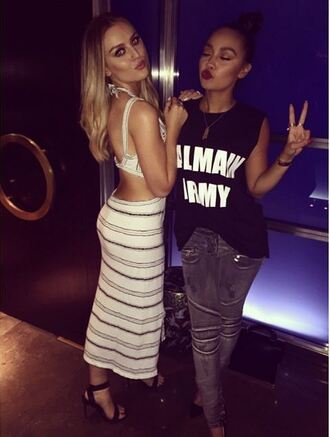 dress top stripes striped dress instagram little mix perrie edwards leigh-anne pinnock denim jeans