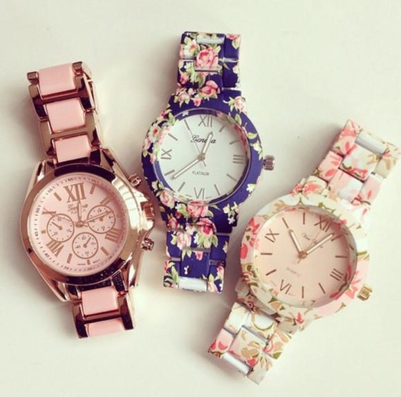 jewels clock floral sweet geneva watch watch undefined please help me!