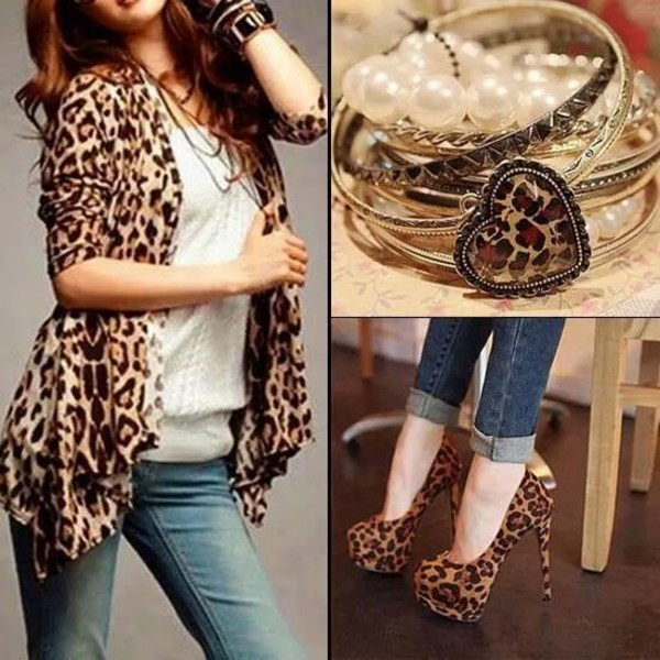 Fashion Women's Batwing Sleeve Leopard Print Chiffon Casual ...