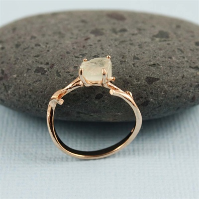 Handmade Pink Gold Rough Green Amethyst Ring