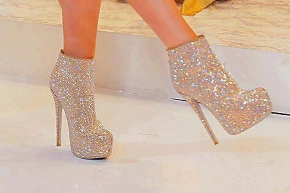 sparkle glitter high heels shoes sequins white boots high heels glitter shoes heels crystals pretty booties sparkly